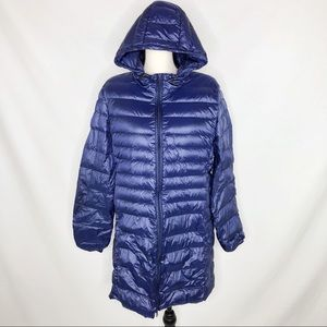 Wantdo Navy Packable Long Down Hooded Puffer Coat